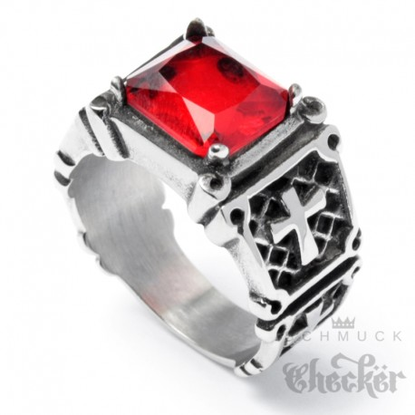 Ring mit 4 Kreuzen und großem roten Stein Templer Ring 316L Edelstahl silber