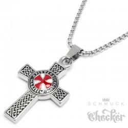 Detailliertes Templer Kreuz Anhänger & Kette Kreuzritter Wappen silber rot Edelstahl