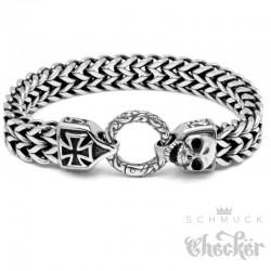 Bikerarmband mit Skull und Eisernem Kreuz aus 316L Edelstahl Totenkopf Armkette