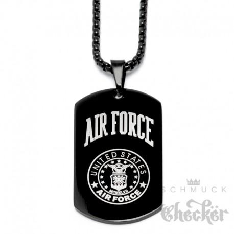 Schwarze US Air Force Kette aus Edelstahl Militär Hundemarke DogTag Anhänger Halskette