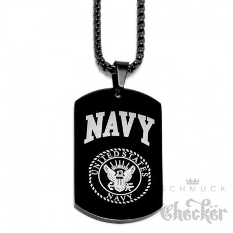 Schwarze US Navy Kette aus Edelstahl Militär Hundemarke DogTag Anhänger Halskette