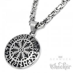 Massives Aegishjalmur-Amulett aus Edekstahl mit Halskette Schutzrunen Wikinger