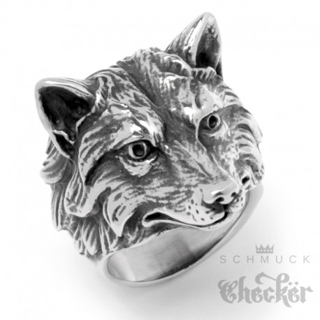 Detaillierter Bikerring mit Fuchs-Motiv aus Edelstahl hochwertig silber Fox Ring