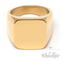 Goldener Siegelring aus Edelstahl 316L vergoldet viereckig schlicht Männer Geschenk