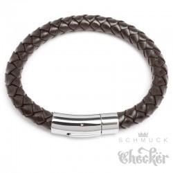 Braunes Lederarmband 8mm Ø Herren-Armband geflochten silber Edelstahl Verschluss