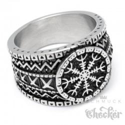 Aegishjalmur Schutzrunen Ring aus massivem Edelstahl nordischer Wikingerschmuck