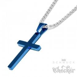 Kleines Kreuz aus Edelstahl gold schlicht Anhänger Herren Schmuck + Halskette