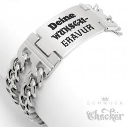 Herren Armband mit Wunsch-Gravur breites Edelstahl-Armband individuell Männer Geschenk