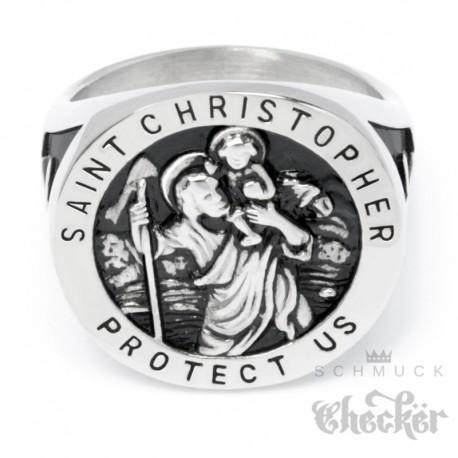 St. Christopher Ring mit Kreuzen Siegelring 316L Edelstahl christlicher Bikerring