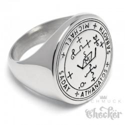Schutzzauber Siegel des Erzengel St. Michael Ring aus Edelstahl Sabaoth Athanatos