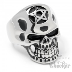 Totenkopf-Ring mit Pentagramm aus Edelstahl silber Bikerschmuck Männer Geschenk