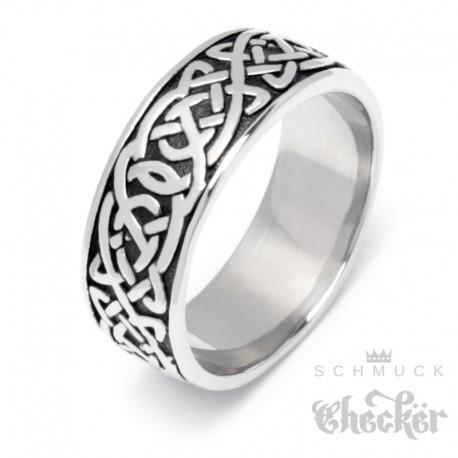 Keltischer Knoten Bandring aus Edelstahl silber Winkinger-Ring verschlungene Linien