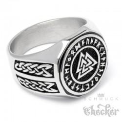 Wikinger-Ring mit Valknut dem Krieger Symbol und Schutz-Runen Berserker Edelstahl
