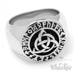 Massiver Wikinger-Ring mit Triqueta und Runenkreis Edelstahl Bikerschmuck Geschenk
