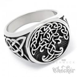 Edelstahl-Ring mit Yggdrasil und keltischen Knoten Wikinger-Schmuck Biker Geschenk