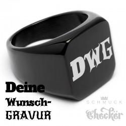 Schwarzer Siegelring aus Edelstahl 316L platiert viereckig schlicht Männer Geschenk