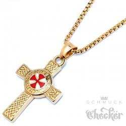 Vergoldetes Templer Kreuz aus Edelstahl Kreuzritter Anhänger & Kette Wappen gold rot