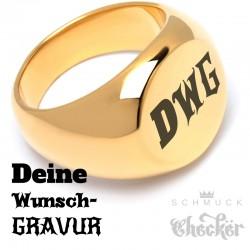 Vergoldeter Ring mit Wunsch-Gravur aus Edelstahl gold Herren Schmuck Geschenk