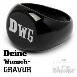 Schwarzer Bikerring mit Gravur Wunsch-Motiv Ring aus Edelstahl Männer Geschenk