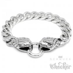 Schlangen Panzerarmband mit Ringverschluss Edelstahl silber Biker Herren Armband