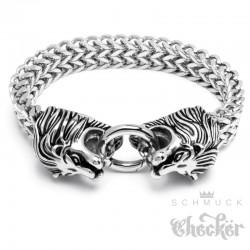Löwen-Armband mit Ringverschluss Edelstahl Bikerschmuck Armkette Herren Geschenk