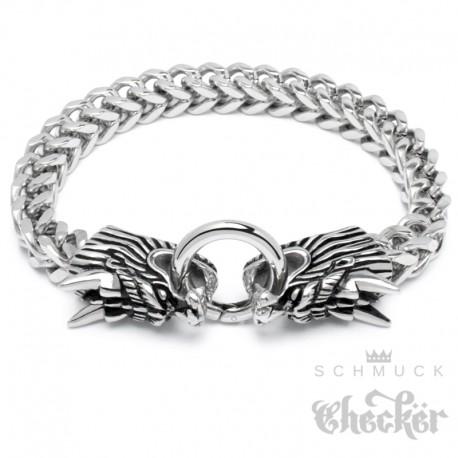 Drachen-Armband mit Ringverschluss Edelstahl Biker Männer Armkette Glücksbringer