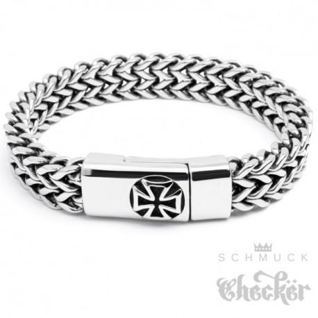 Edelstahl Armband Eisernes Kreuz 22cm Herren Biker Panzerkette doppelt Armkette