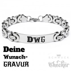 Königsarmband mit individueller Gravur silber Edelstahl Herren Armband Geschenk