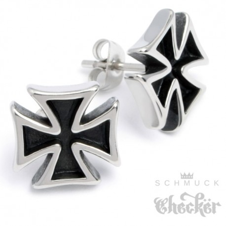 Edelstahl Herren Ohrstecker Eisernes Kreuz Ohrringe Ritterkreuz silber Biker