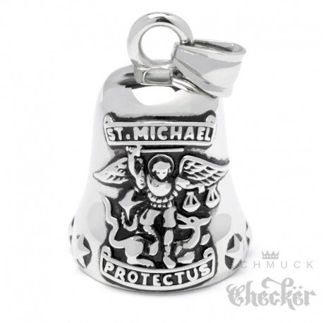Bikerbell mit Erzengel St. Michael aus Edelstahl Glücksglöckchen Guardian Ride Bell