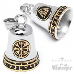 Wikinger Schutz-Glöckchen mit Vegvisir Valknut Runen Edelstahl Guardian RIde Bell