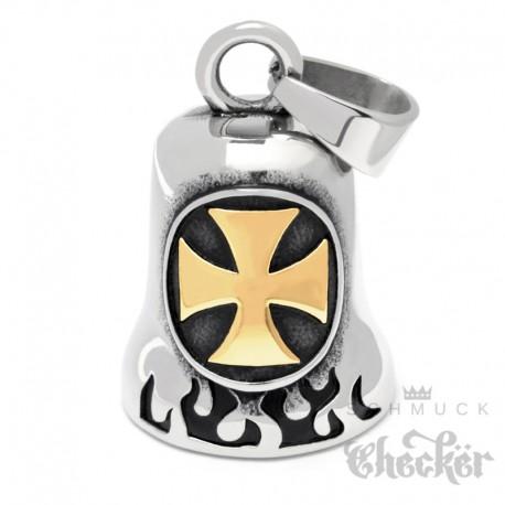 Iron Cross Biker-Bell silber & gold aus Edelstahl Motorrad Eisernem Kreuz Ride Bell