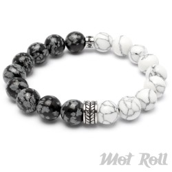 Mot Roll Bead Perlen Armband Herren Männer weiß schwarz Stein Menbeads