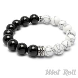 Mot Roll Perlen-Armband Bicolor aus Halbedelsteinen weiß schwarz Edelstahl Menbeads