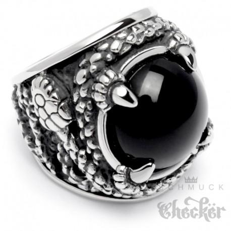 Großer Ring mit Onyx und Schlangen aus Edelstahl Bikerring Rocker Schmuck Geschenk