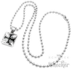 Edelstahl Anhänger Eisernes Kreuz massiv schwarz silber 60cm Kette Biker Rocker