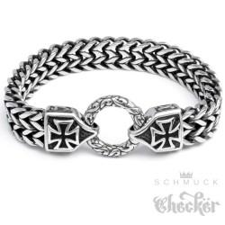Edelstahl Herren Armband Armkette Eisernes Kreuz Anker Panzerkette Biker Rocker