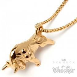 Goldener Stier-Anhänger mit Halskette Börsen Glücksbringer 3D Edelstahl Sternzeichen