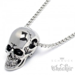 3D Totenkopf-Anhänger silber poliert mit Halskette Edelstahl Skull Bikerschmuck