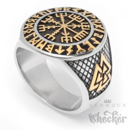 Wikinger-Ring mit Vegvisir, Valknut und Schutzrunen silber & gold aus Edelstahl