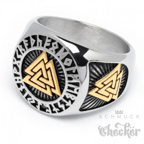 Massiver Valknut Ring aus Edelstahl silber & gold Wikingerschmuck Männer Geschenk