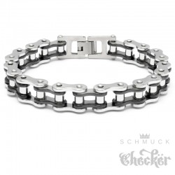 Motorradketten-Armband aus Edelstahl silber & schwarz Biker-Armband Fahrradkette