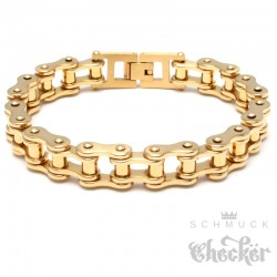 Motorradketten-Armband in silber & gold aus Edelstahl Biker-Armband Fahrradkette