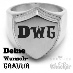 Siegelring mit individueller Wunsch-Gravurin Schild-Form 316L Edelstahl silber matt