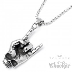 Heavy Metal Hand mit Skull Devil Horns Pommesgabel Mano Cornut Edelstahl Halskette