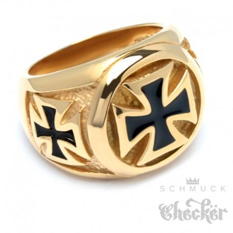 Edelstahl Biker Ring Eisernes Kreuz Herren Siegelring silber schwarz detaillert