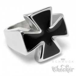 Goldener Ring mit 3 Eisernen Kreuzen Edelstahl Ring Iron Cross Siegelring Biker