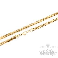 Besondere Edelstahl Herren Panzerkette zweifach Halskette Königskette gold 60cm