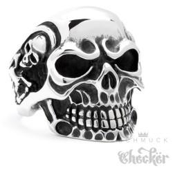 Massiver Edelstahl Ring silber Skull Totenkopf Schädel m. Skeletten Biker Rocker