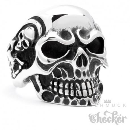 Massiver Edelstahl Ring silber Skull Totenkopf Schädel m. Skeletten Biker Rocker Schmuck Checker